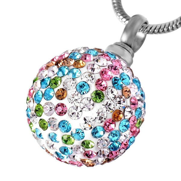 Cremation Necklace - Colorful Crystal Ball Cremation Urn Necklace With Rhinestones