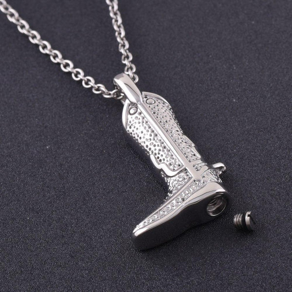 Cremation Necklace - Cowboy Boot Cremation Urn Necklace