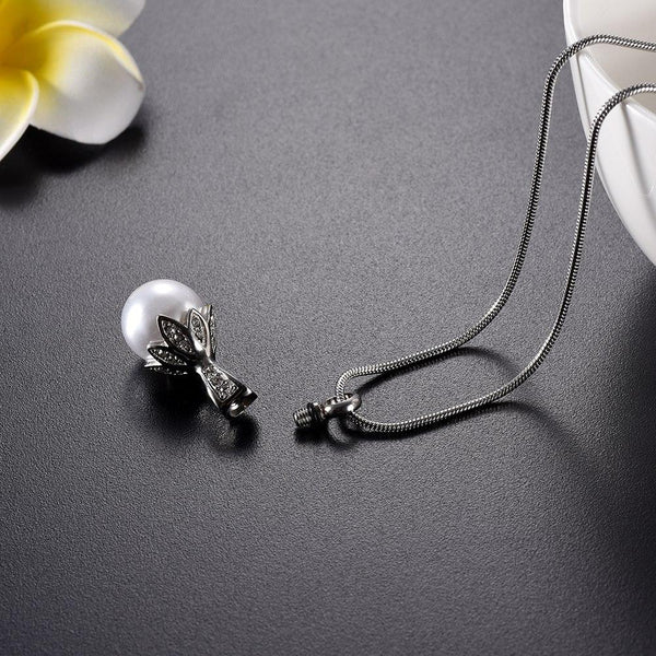 Cremation Necklace - Crystal Flower & Pearl Cremation Urn Necklace With Rhinestones