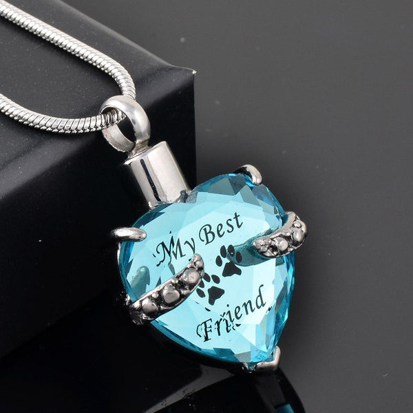 "Cremation Necklace - Crystal Heart Pendant Pet Cremation Urn Necklace Etched ""My Best Friend"""