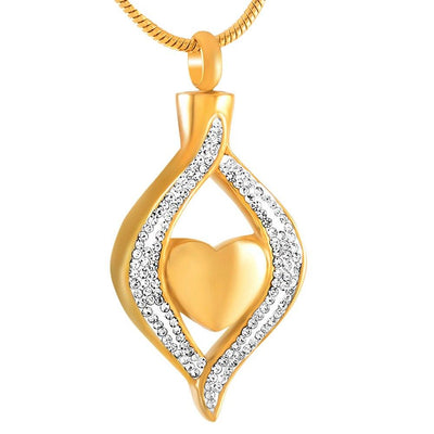 Cremation Necklace - Crystal Teardrop With Heart Cremation Urn Necklace With Rhinestones