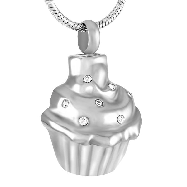 Cremation Necklace - Cupcake Shaped Cremation Urn Necklace
