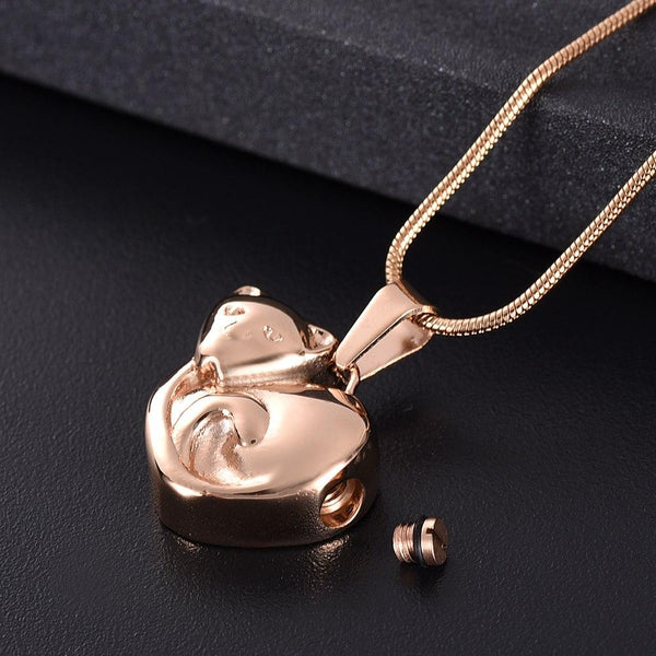 Cremation Necklace - Curled Up Cat Cremation Urn Necklace