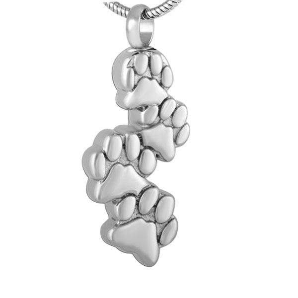 Cremation Necklace - Cute Silver Pet Paws Cremation Urn Necklace