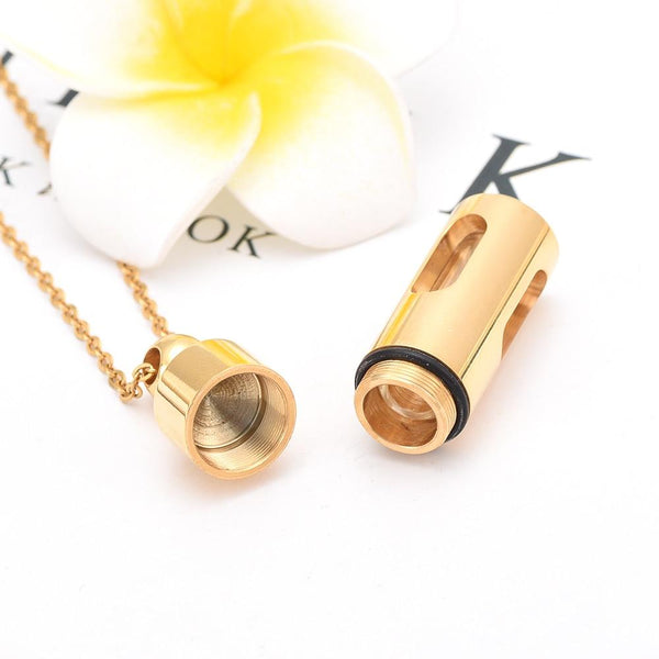 Cremation Necklace - Cylinder Cremation Urn Necklace With Glass Vial