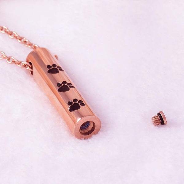 Cremation Necklace - Cylinder Cremation Urn Necklace With Paw Prints