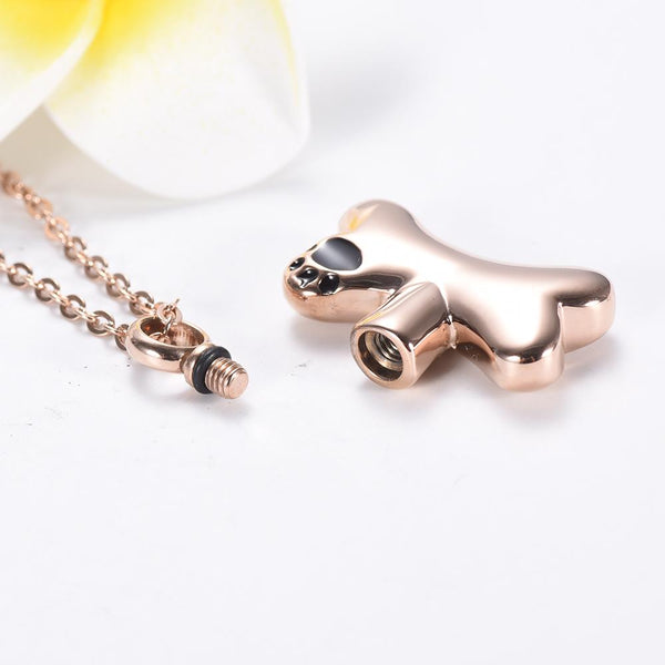 Cremation Necklace - Dog Bone Shaped Cremation Urn Necklace With Paw Print