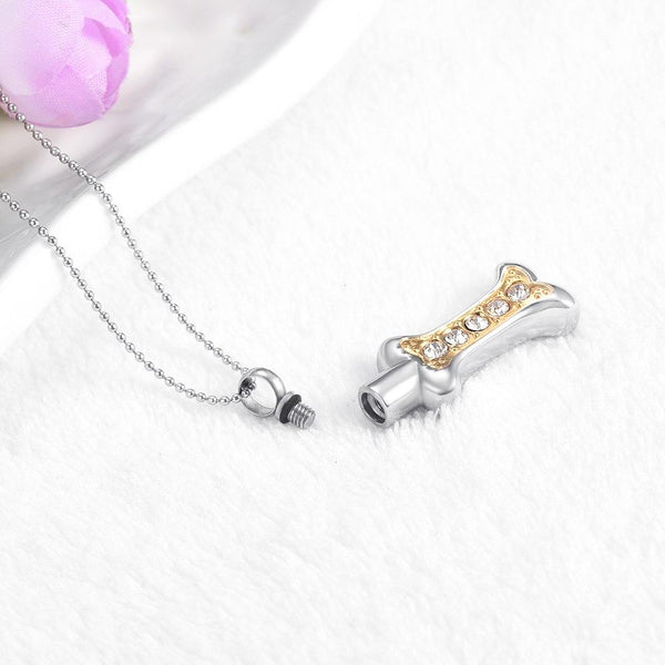 Cremation Necklace - Dog Bone Shaped Cremation Urn Necklace With Rhinestones