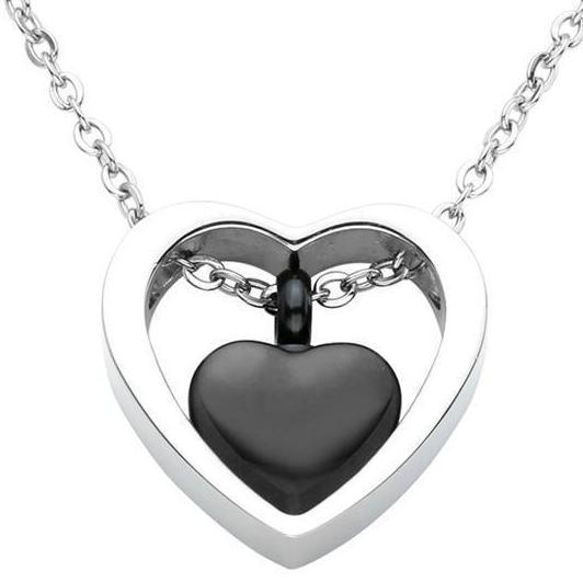 Cremation Necklace - Double Heart Cremation Urn Necklace
