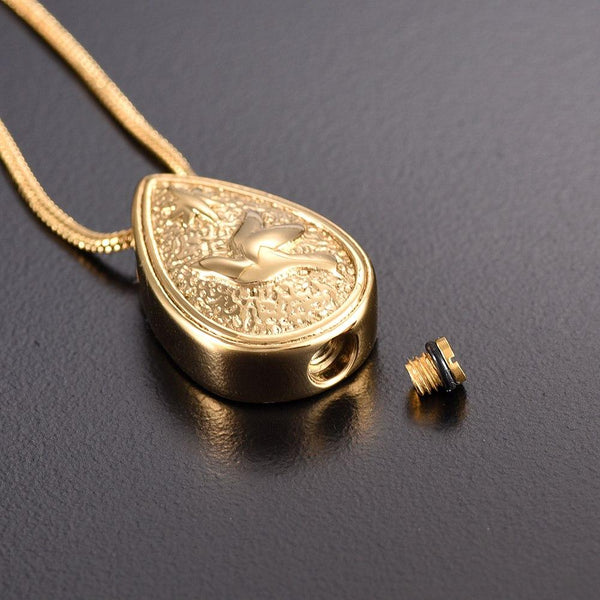 Cremation Necklace - Dove Peace Teardrop Cremation Urn Necklace