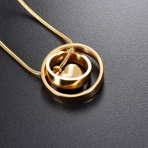 Cremation Necklace - Dual Circle Around Heart Cremation Urn Necklace