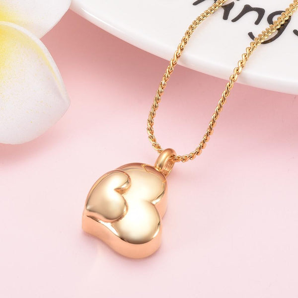 Cremation Necklace - Dual Heart Shaped Cremation Urn Necklace