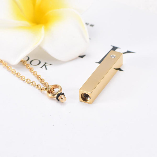 Cremation Necklace - Gold Column With Rhinestone Cremation Urn Necklace