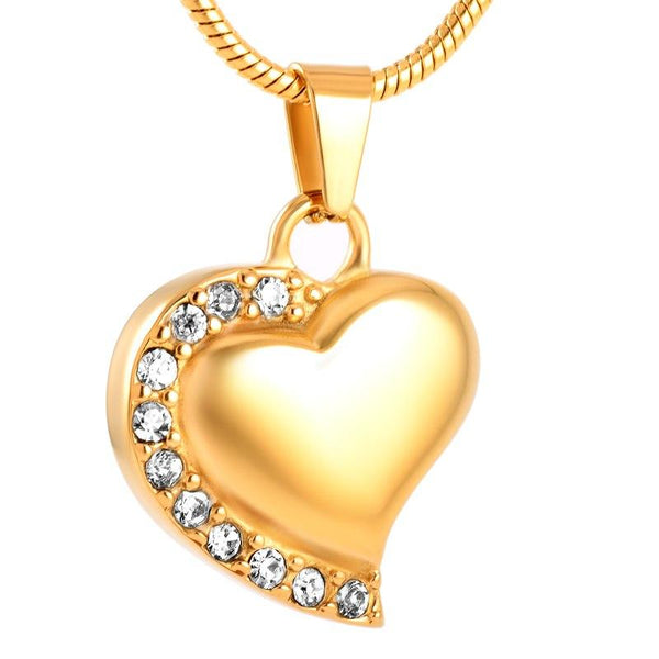 Cremation Necklace - Gold Crystal Heart Cremation Urn Necklace With Rhinestones