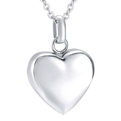 Cremation Necklace - Gold/Silver High Polished Heart Cremation Urn Necklace