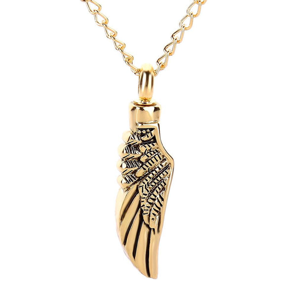 Cremation Necklace - Golden Angel Wing Cremation Urn Necklace