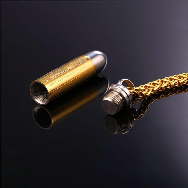 Cremation Necklace - Golden Bullet Cremation Urn Necklace With Engraved Cross & Latin Bible Verse