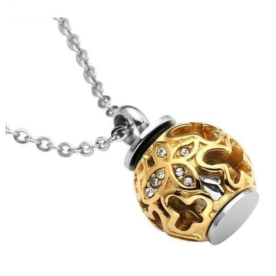 Cremation Necklace - Golden Butterfly Flower Lantern Cremation Urn Necklace With Rhinestones