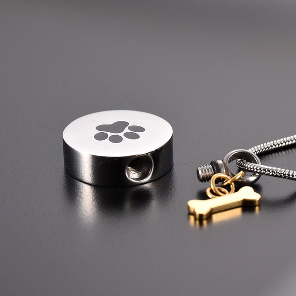 Cremation Necklace - Golden Dog Bone Charm & Paw Print Cremation Urn Necklace