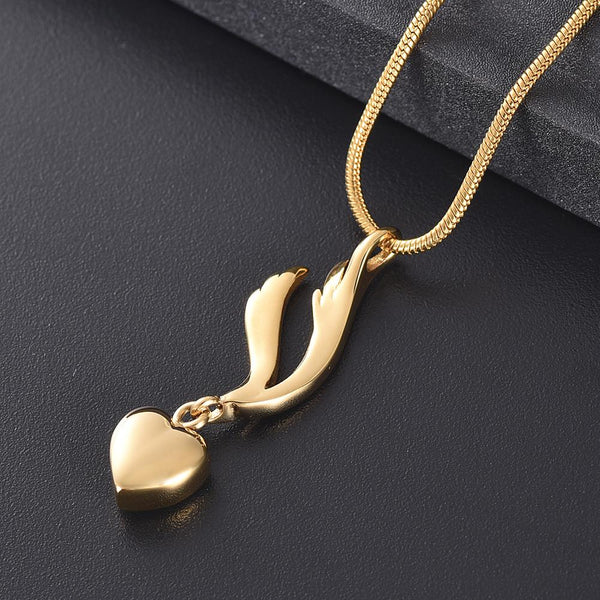 Cremation Necklace - Heart & Angel Wing Cremation Urn Necklace