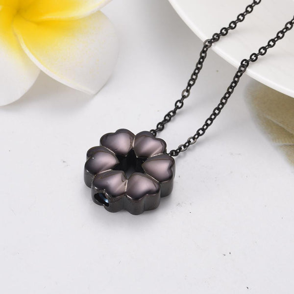 Cremation Necklace - Heart Flower Cremation Urn Necklace