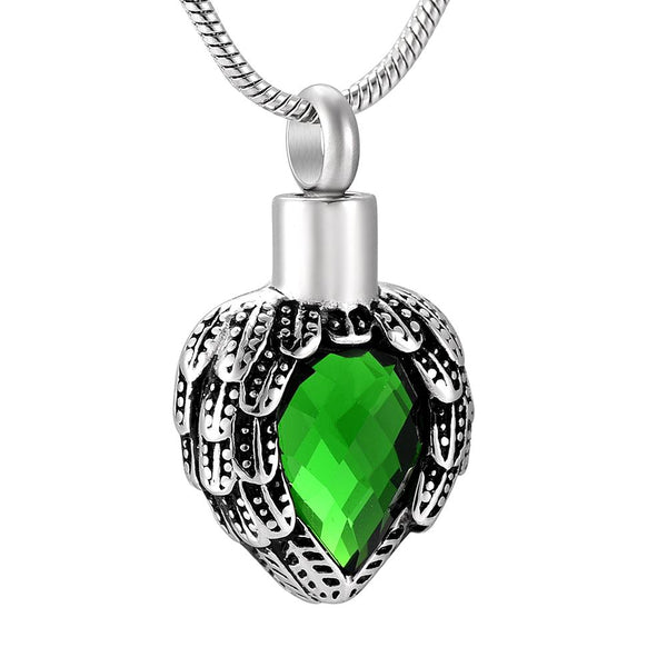 Cremation Necklace - Heart Shaped Angel Wings Wrapping Green Rhinestone Heart Cremation Urn Necklace