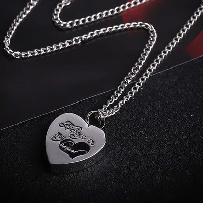 "Cremation Necklace - Heart Shaped Cremation Urn Necklace Engraved With ""Always In My Heart"""