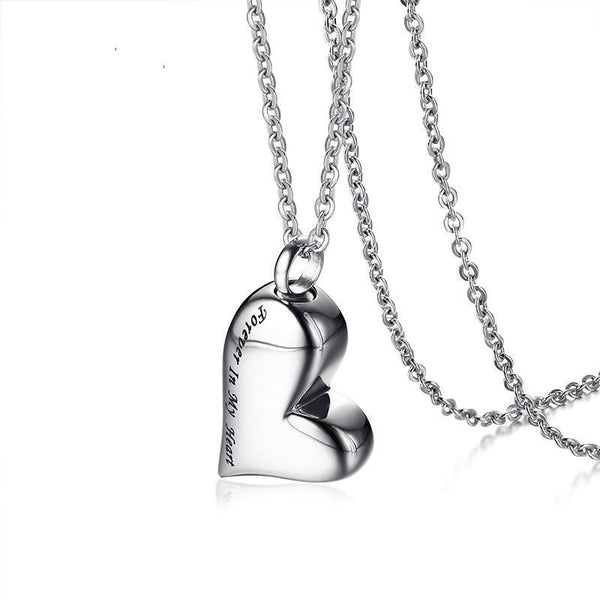 "Cremation Necklace - Heart Shaped Cremation Urn Necklace Engraved With ""Forever In My Heart"""