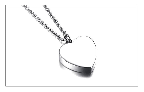 "Cremation Necklace - Heart Shaped Cremation Urn Necklace Engraved With Roses & ""Always In My Heart"""