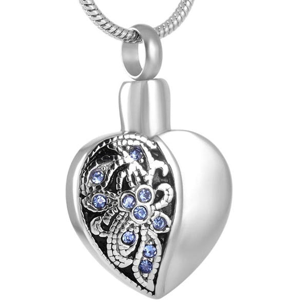 Cremation Necklace - Heart Shaped Cremation Urn Necklace With Blue Rhinestone Flowers