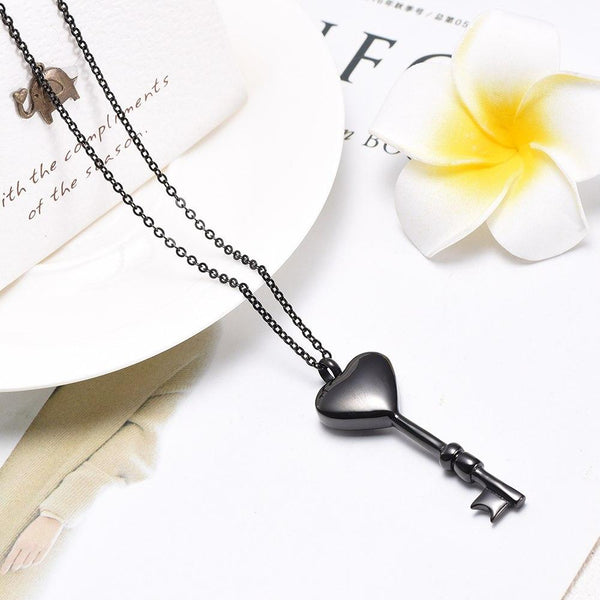 Cremation Necklace - Heart Shaped Key Cremation Urn Necklace