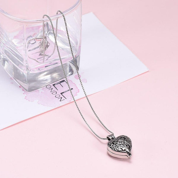 "Cremation Necklace - Heart Shaped Locket ""Always In My Heart"" Cremation Urn Necklace"