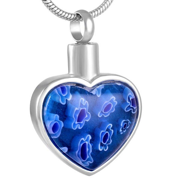 Cremation Necklace - Heart Shaped Murano Glass Cremation Urn Necklace