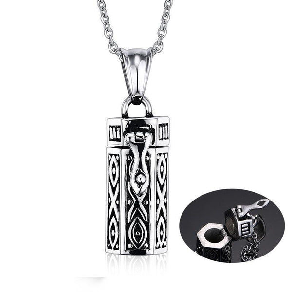Cremation Necklace - Hex Cylinder Modern Cremation Urn Necklace