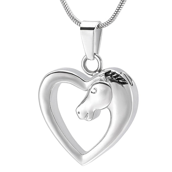Cremation Necklace - Horse In Heart Cremation Necklace