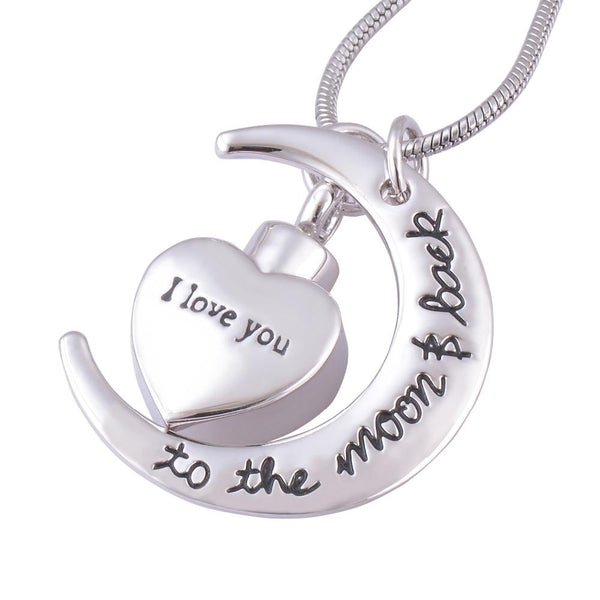 Cremation Necklace - I Love You To The Moon And Back Cremation Urn Necklace