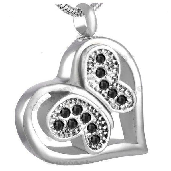 Cremation Necklace - Jeweled Butterfly In Heart Cremation Urn Necklace With Rhinestones