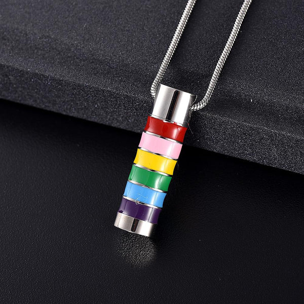 Cremation Necklace - LGBT Rainbow Cylinder Cremation Urn Necklace