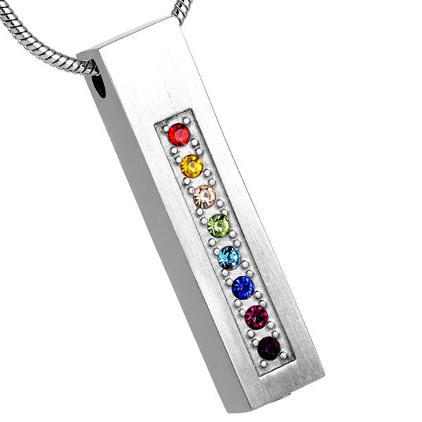 Cremation Necklace - LGBT Rainbow Rhinestone Cylinder Cremation Jewelry Necklace