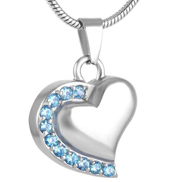 Cremation Necklace - Memorial Heart Cremation Urn Necklace With Rhinestones