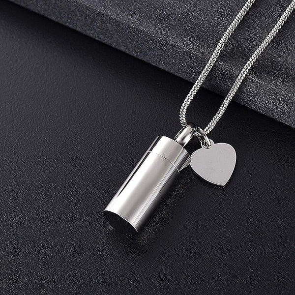 "Cremation Necklace - ""Miss You"" Silver Cylinder Cremation Urn Necklace"