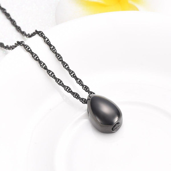 Cremation Necklace - Modern Little Teardrop Cremation Urn Necklace