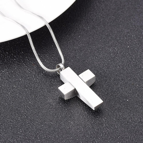 Cremation Necklace - Modern Silver Cross Cremation Urn Necklace