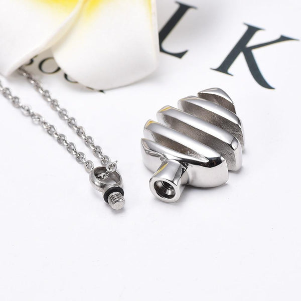 Cremation Necklace - Modern Silver Heart Shaped Cremation Urn Necklace