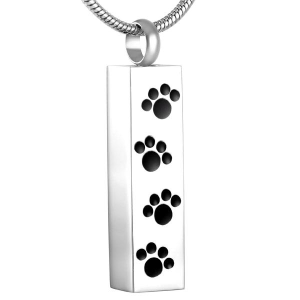 Cremation Necklace - Modern Silver Paw Print Cremation Urn Necklace