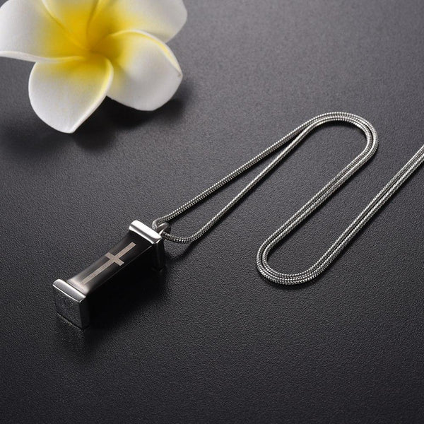 Cremation Necklace - Modern Style Column With Cross Cremation Urn Necklace