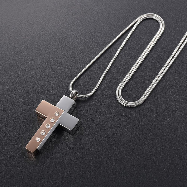 Cremation Necklace - Modern Style Two Tone Cross Cremation Urn Necklace With Gem Rhinestones