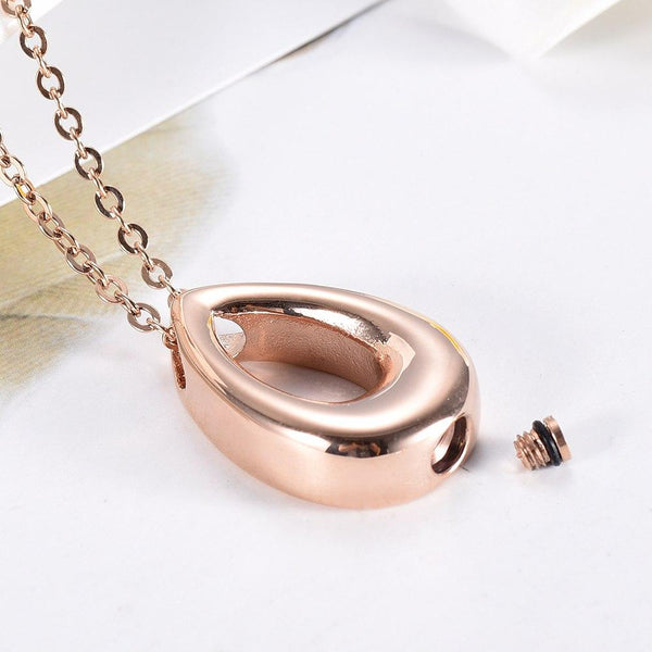 Cremation Necklace - Modern Tear Drop Shaped Cremation Urn Jewelry