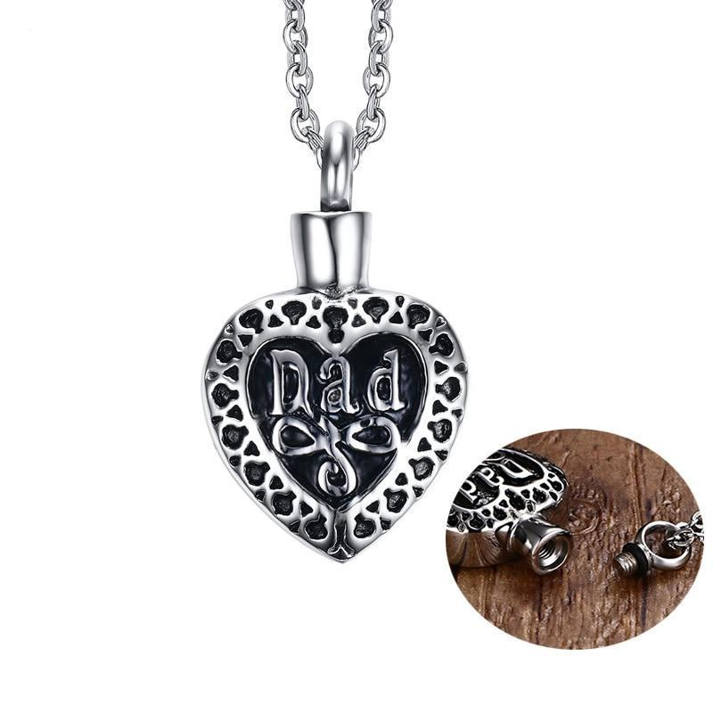Mom Dad Heart Shaped Cremation Necklace Cherished Emblems