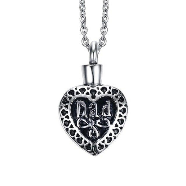 Cremation Necklace - Mom/Dad Heart Shaped Cremation Necklace